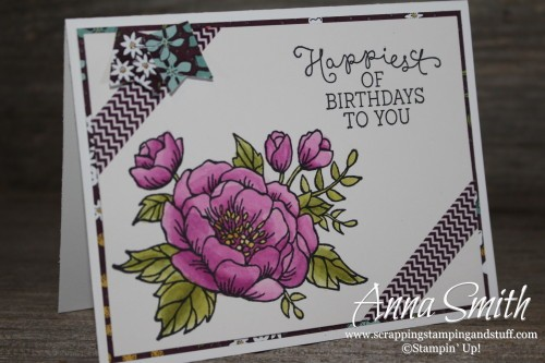 Birthday Blooms Card Stampin' Up! Features watercoloring on the flower, which was done with aqua painters.