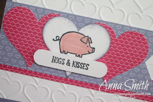 Hogs & Kisses Valentine's Day Card made with Barnyard Babies stamp set, Have a Cuppa designer paper, sweetheart punch and the happy heart embossing folder