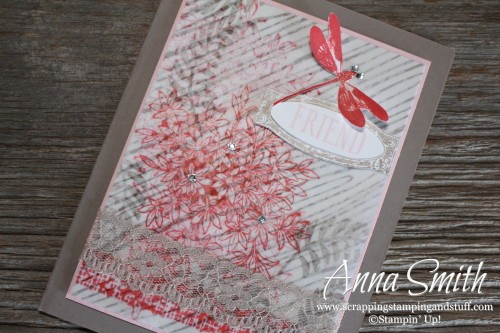 Dragonfly friend card made using the Stampin' Up! Awesomely Artistic stamp set, botanical gardens designer vellum and in color envelope paper