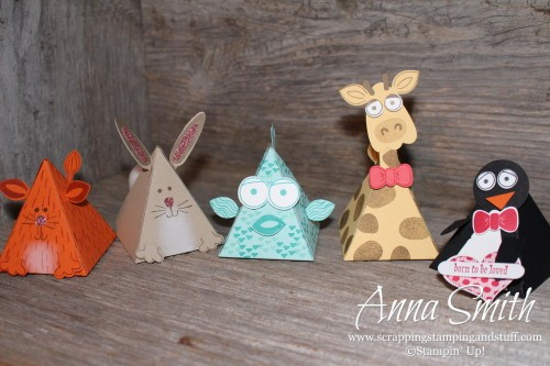 Stampin' Up! Playful Pals Valentine's or Party Treat Boxes - Cat, Fish, Giraffe, Penguin and Bunny Rabbit