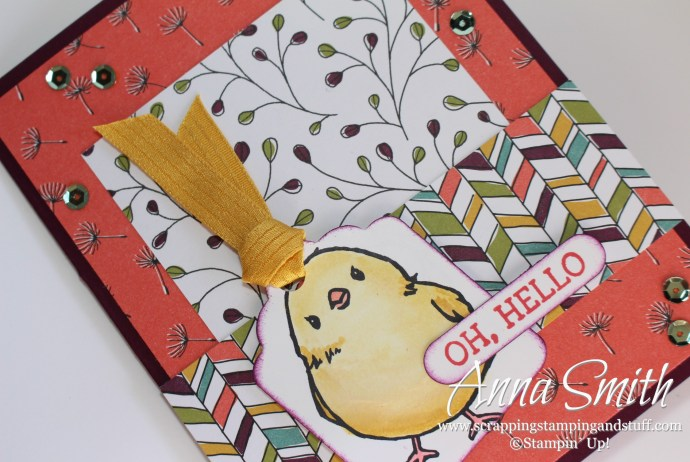 Stampin' Up! Honeycomb Happiness Hello card with a cute baby chick using Wildflower Fields designer paper