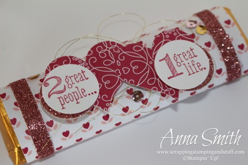 Valentine's Treat Candy Bar Wrapper made with Stampin' Up! Love Blossoms designer paper, sweetheart punch and Something to Say stamp set