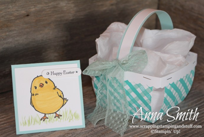 Easter Berry Basket and Chick Easter Card made with Honeycomb Happiness, Teeny Tiny Wishes and Brushstrokes stamp sets