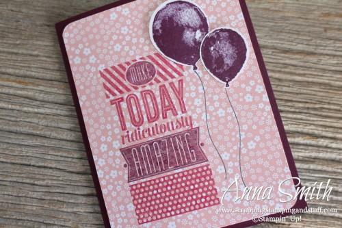 Pink Amazing Birthday Card with Balloon Builder stamp set