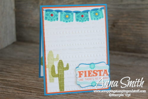 Turquoise southwestern cactus card made with Stampin' Up! Birthday Fiesta Stamp Set and Festive embossing folder. Fiesta like there's no manana!