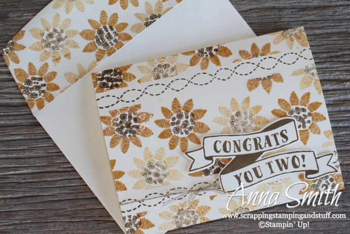 Fall Sunflower Wedding Card with Stampin' Up! Banners For You and Lovely Stitching Stamp Sets