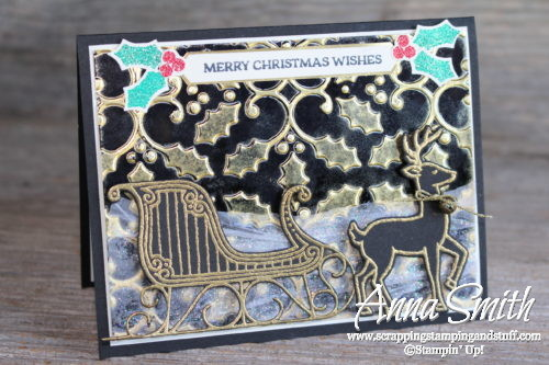 Elegant Gold and Black Reindeer and Sleigh Christmas Card using Inked Embossing Folder Technique and Stampin' Up! Santa's Sleigh Stamp Set and Thinlits