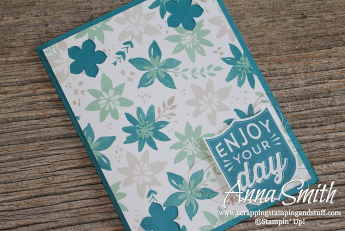 Enjoy your day card made with Stampin' Up! Badges & Banners stamp set and Blooms & Bliss dsp