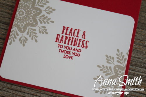 Christmas Card made with a pair of Stampin' Up! hostess sets- Holly Jolly Layers and Cozy Critters