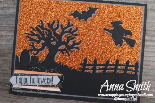 Stampin' Up! Spooky Fun Halloween Card made with Halloween Scenes thinlits - has a scary tree, fence, graveyard, witch and bat!