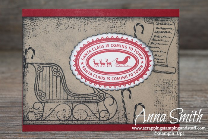 Rustic Old Fashioned Santa's Sleigh Christmas Card using Greetings From Santa and Holly Jolly Layers stamp sets