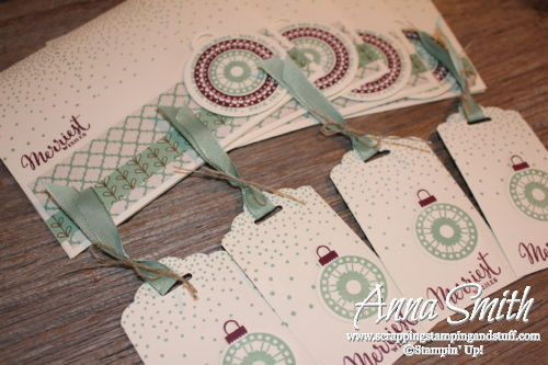 Pretty Christmas card and tag sets made with Stampin' Up! Merriest Wishes stamp set, Merry Tags thinlits, and Paisley, and Petals & Paisleys designer paper