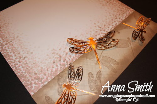 Neat dragonfly scrapbook page using Stampin' Up! Dragonfly Dreams stamp set and Detailed Dragonfly thinlits