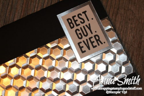 Great masculine card made with the Hexagons Embossing folder, new from Stampin' Up!
