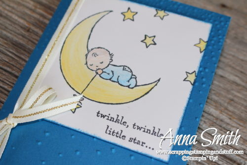 Twinkle twinkle little star baby card made with the Stampin' Up! Moon Baby stamp set, Softly Falling embossing folder and watercolor pencils