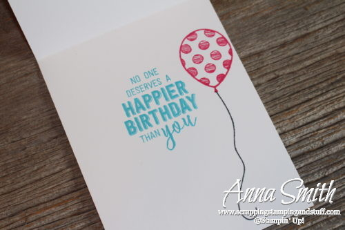 Cute birthday card made with Stampin' Up! Balloon Adventures stamp set, balloon bouquet punch and Festive Birthday paper
