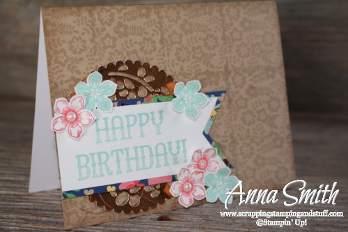 Lovely floral birthday card made with Stampin' Up! Petite Petals and Window Shopping stamp sets and Window Box thinlits
