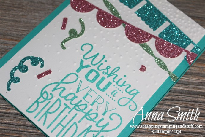 Fun glitter banner Stampin' Up! birthday card idea using Fiesta Time framelits, Big on Birthdays stamp set, and the sprinkles punch! Occasions 2017 Catalog