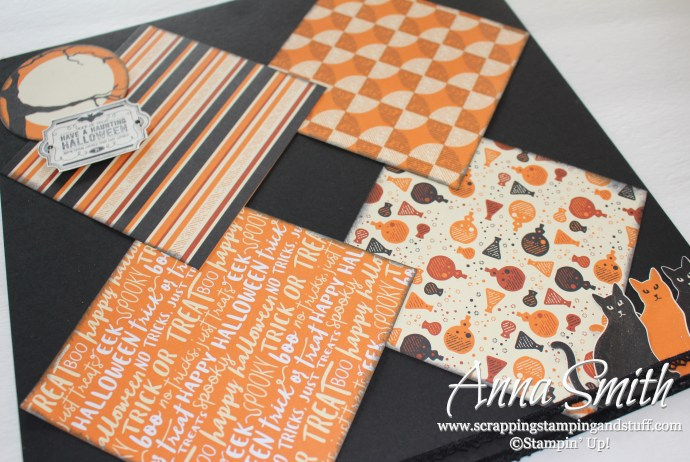 Halloween scrapbook page idea using Stampin' Up! Spooky Night designer paper, cat punch, and Labels to Love stamp set