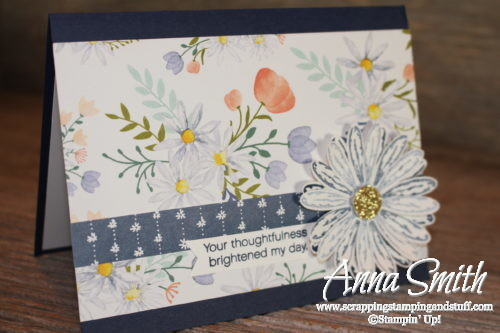 Pretty floral thank you card using Stampin' Up! Daisy Delight stamp set, daisy punch, and delightful daisy designer paper.