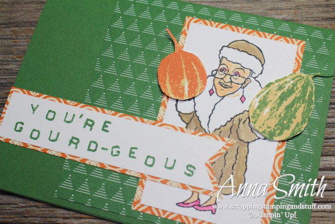 Funny fall card made with the Stampin' Up! You've Got Style and Gourd Goodness stamp sets. You're gourd-geous!