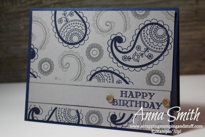 Simple masculine birthday card idea using the Stampin' Up! Paisleys & Posies and Guy Greetings stamp sets