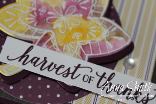 Rustic purple and woodgrain watercolor leaf fall card made with Stampin' Up! Falling For Leaves stamp set