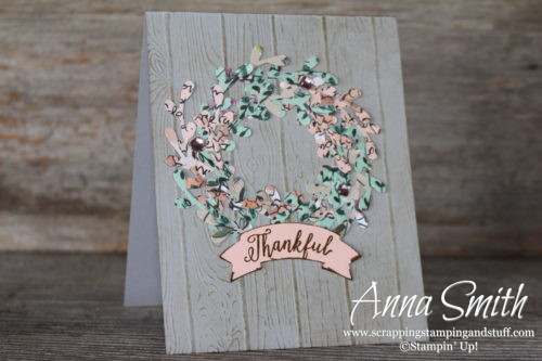 Love this!!!! Beautiful fall or spring card made with the Stampin' Up! sprig punch, pinewood planks embossing folder, Falling For Leaves stamp set, and duet banner punch