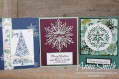 Beautiful Christmas card ideas with the Stampin' Up! Snowflake Showcase Class featuring Happiness Surrounds and Snow Is Glistening stamp sets
