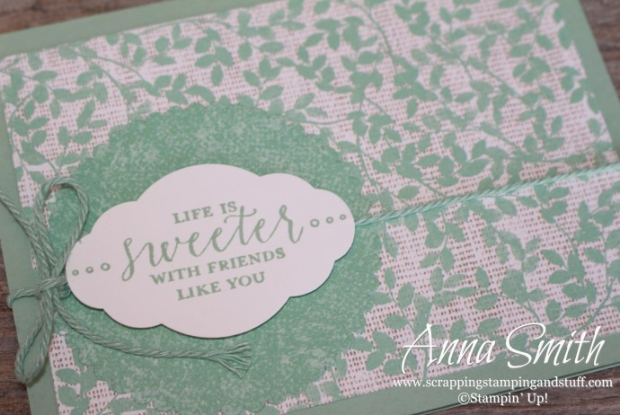 Highlighting Stampin' Up! Mint Macaron! I love this color! Life is Sweeter With Friends Like You card made with Stampin' Up! Detailed With Love Stamp Set.