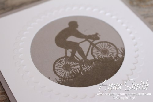 Masculine kick butt card idea using the Stampin' Up! Enjoy Life stamp set and the embossing mats to use dies for embossing