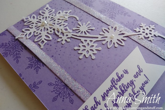 Pretty purple winter birthday card made with the Stampin' Up! Snowflake Showcase Snow is Falling Stamp Set and Snowfall Thinlits