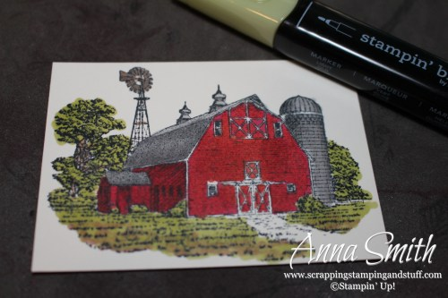 Masculine barn birthday card made with the Stampin' Up! Heartland stamp set and Stampin' Blends alcohol markers