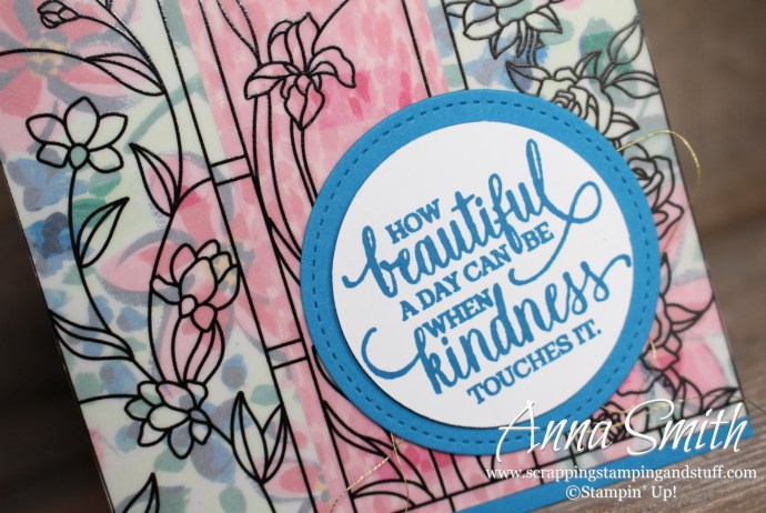 Pretty and simple stained glass card idea using the Stampin' Up! Graceful Glass vellum, Garden Impressions designer paper, and Enjoy Life Stamp Set