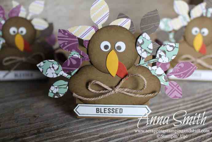 Adorable DIY Thanksgiving turkeys! Use them as a centerpiece, table decoration, or place card holder. Uses Stampin' Up! supplies. Turkey punch art.