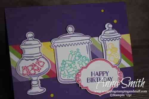 Occasions Catalog Sneak Peeks! Old time candy jar birthday card idea using the Stampin' Up! Sweetest Thing stamp set and Jar of Sweets framelits