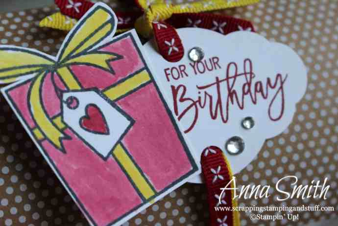 Cute packaging idea using pillow boxes and the Stampin' Up! Birthday Cheer stamp set