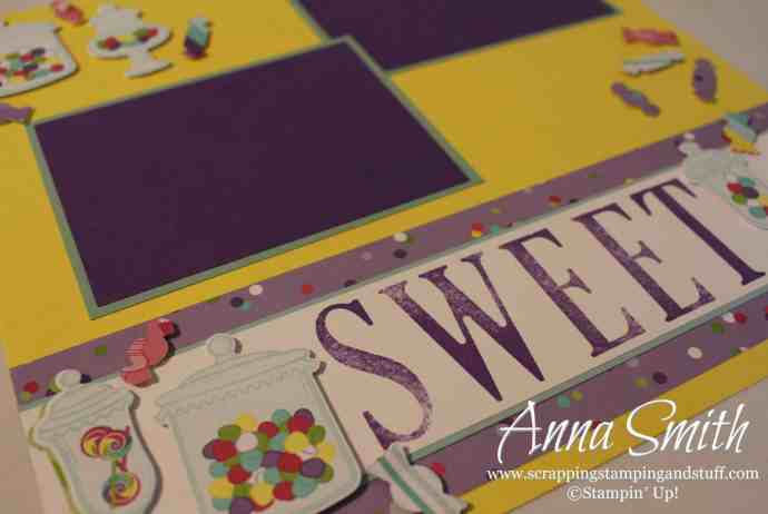 Cute scrapbook page layout using the Stampin' Up! Sweetest Thing bundle - Jar of Sweets thinlits and How Sweet It Is designer paper
