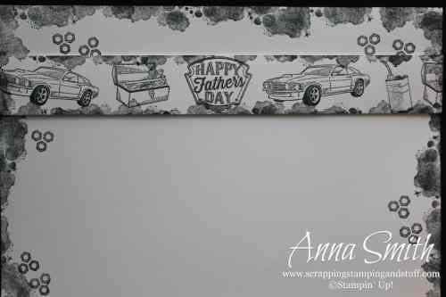 Stampin' Up! Geared Up Garage stamp set masculine scrapbook layout with cars and tools, black and white #simplestamping