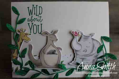 Wild animal card idea with a giraffe, kangaroo and rhinoceros, made with the Stampin' Up! Animal Outing stamp set and Animal Expedition paper pack.
