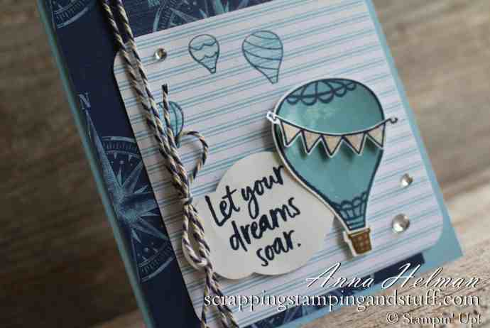 Lovely hot air balloon card idea made using the Stampin' Up! Above the Clouds stamp set and hot air balloon punch