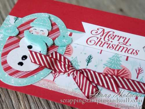 Adorable snowman Christmas card idea using the new Stampin' Up! Snowman Builder Punch and Let It Snow designer paper in the 2019 Holiday Catalog.