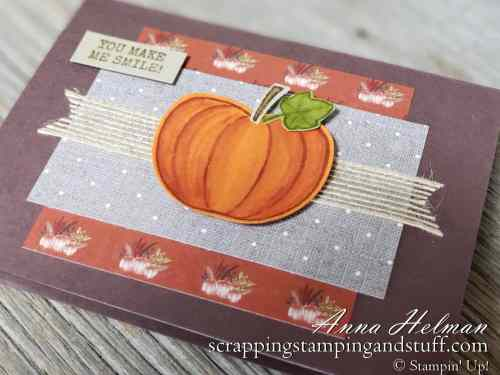 Fall pumpkin card idea made with the Stampin Up Harvest Hellos stamp set and Apple Builder Punch. It's rustic and farmhouse style!