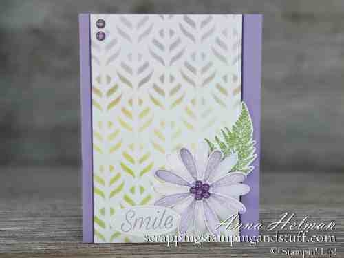 Pretty purple flower just because card idea made with Stampin Up Daisy Lane stamp set and daisy punch in the 2019-2020 annual catalog
