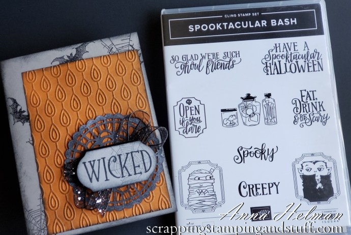 Wicked Halloween card idea using Stampin Up Spooktacular Bash stamp set 2019 Holiday Catalog. Bats and spiderwebs...so spooky!