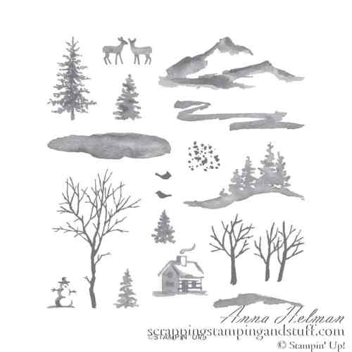 Stampin Up Snow Front Stamp Set Log Cabin Stamp Set