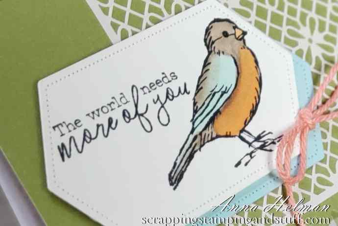 Pretty bird card idea using the Stampin Up Free As a Bird stamp set, shimmer laser cut paper and scalloped notecards! Use for any occasion! Thank you, friendship, just because, hello, birthday card ideas!