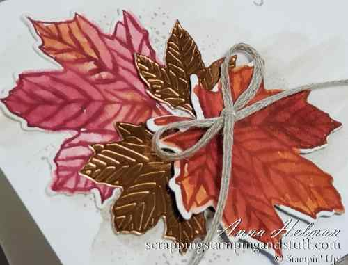 Fall harvest Thanksgiving card idea made using the Stampin Up Gather Together stamp set, a watercolor leaves technique, and background watercolor wash.
