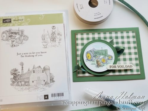 Nice farm handmade tractor card idea using the Stampin Up Heartland stamp set. Great card idea for a man!