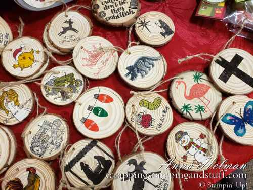 Hand stamped wood chip ornaments made with Stampin Up stamps, Stampin Up handmade ornament ideas for wood slice ornaments